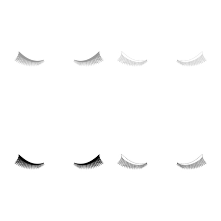 Eyelash icon set grey black color outline