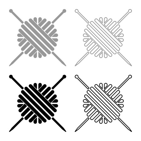Ball of wool yarn and knitting needles icon set grey black color outline