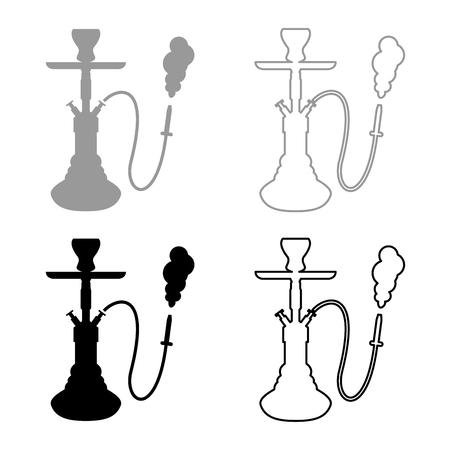 Hookah shisha icon set grey black color outline Illustration