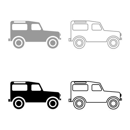 Off road vehicle icon set grey black color outline