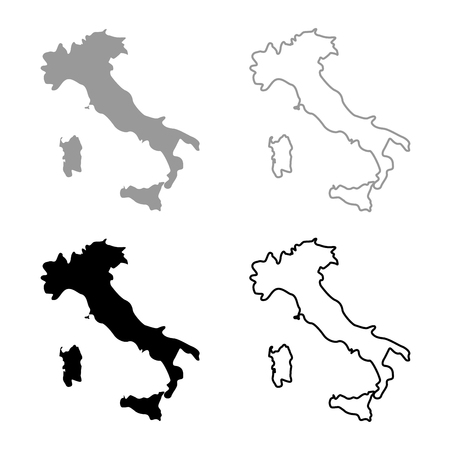 Map of Italy icon set grey black color outline