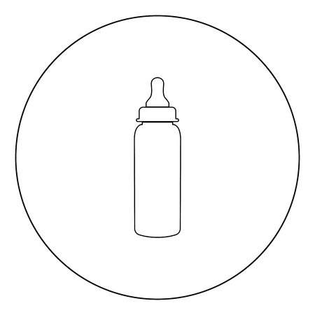Baby bottle symbol black icon in circle vector illustration isolated flat style .