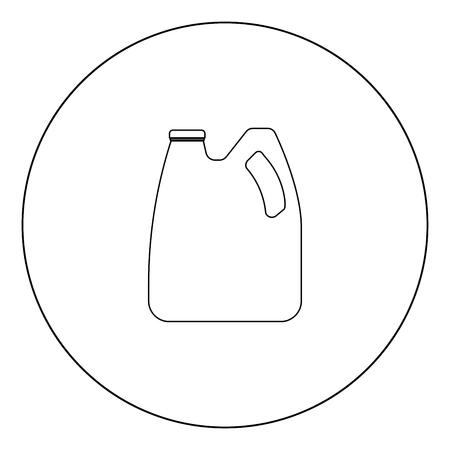 Lattine con olio motore e icona del carburante di colore nero nel profilo del cerchio illustrazione vettoriale