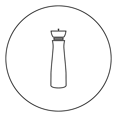 Salt and pepper mill black icon in circle outline vector illustration image Stock Illustratie