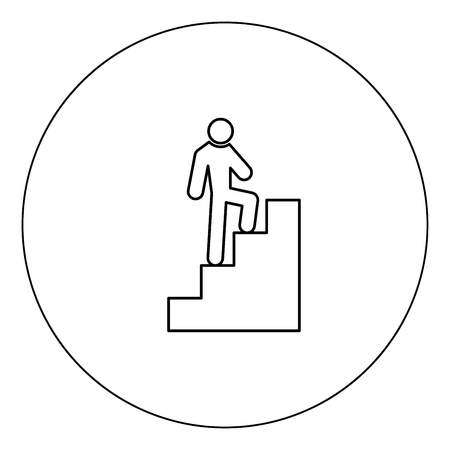 A man climbing stairs icon black color in circle vector illustration isolated outline