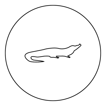 Crocodile black icon in circle outline vector illustration image Illustration