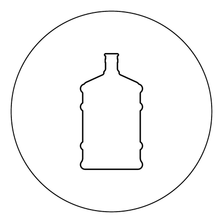 Dispenser large bottles icon black color in circle outline vector illustration