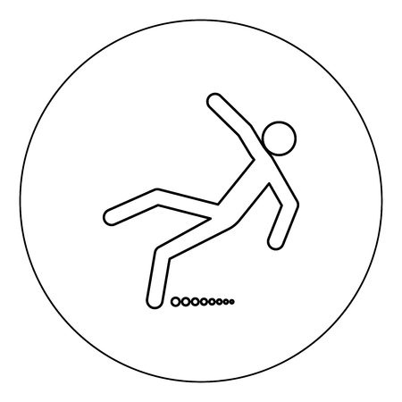 Man slip fall icon black color in circle vector illustration isolated outline