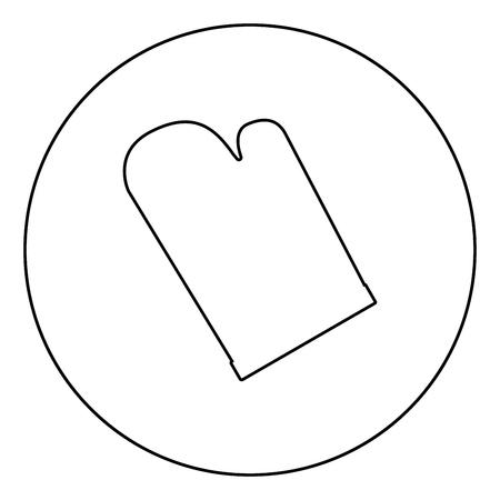 Kitchen glove icon black color in circle outline vector illustration