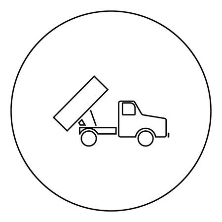 Dumper icon black color in circle outline vector illustration