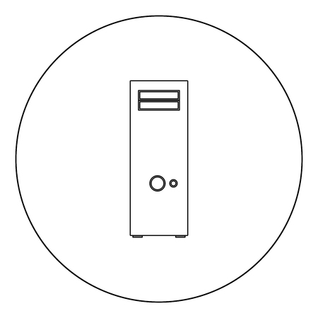 Computer case or system unit icon black color in circle outline vector illustration