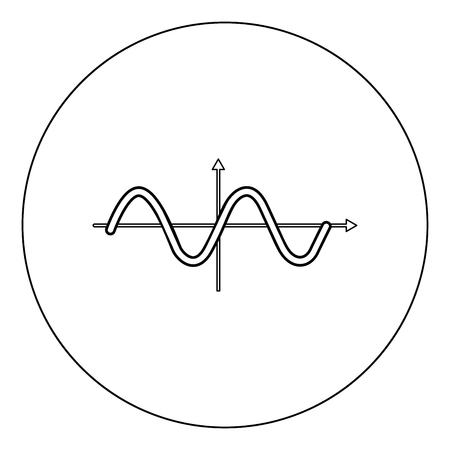 Sinewave icon black color in circle vector illustration isolated outline