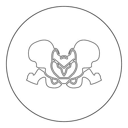 Pelvis skeleton black icon in circle vector illustration isolated flat style . Vettoriali