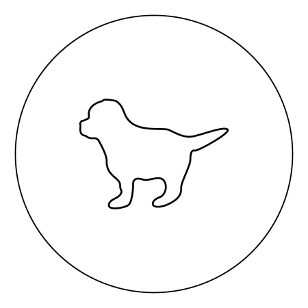Puppy icon black color in circle outline vector illustration Illustration