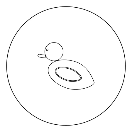 Duck icon black color in circle outline vector illustration