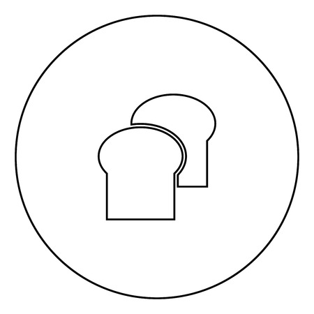 Bread icon black color in circle outline vector illustration