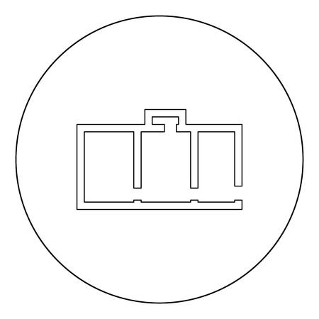 Apartment plan black icon in circle vector illustration isolated flat style . Standard-Bild - 102335931