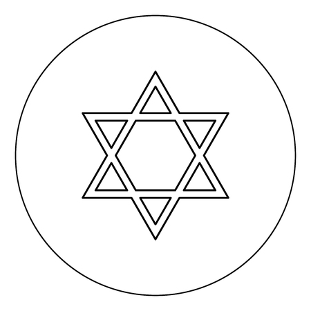 Jewish star of David icon black color in circle outline vector illustration