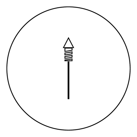 Rockets for fireworks icon black color in circle outline vector illustration