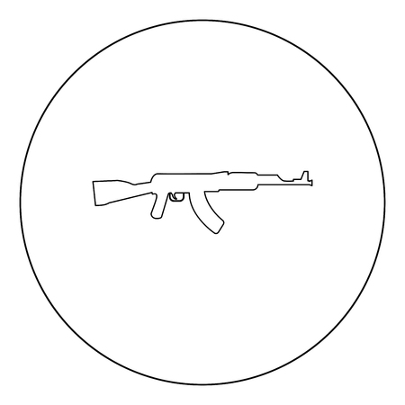 Assault rifle black icon in circle vector illustration isolated flat style .