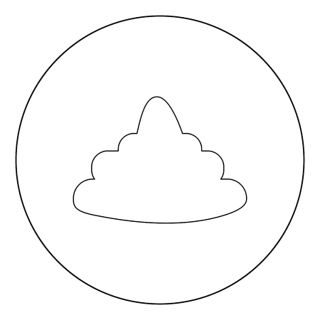 Poo black icon in circle vector illustration isolated flat style .