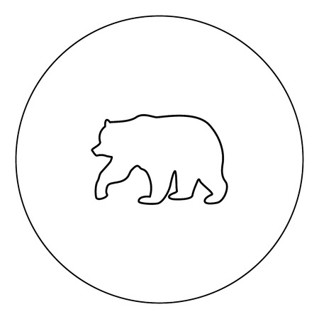 Bear icon black color in circle vector illustration isolated outline