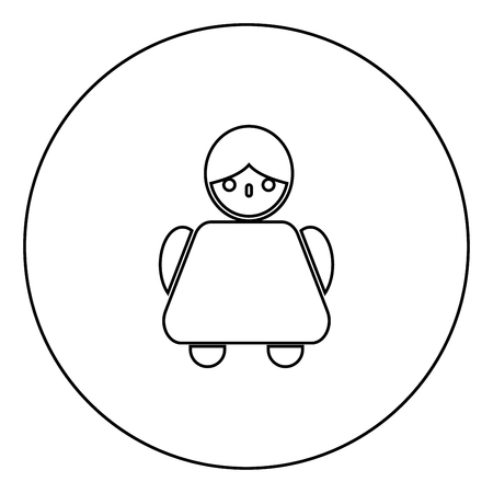 Old woman icon black color in circle outline vector illustration