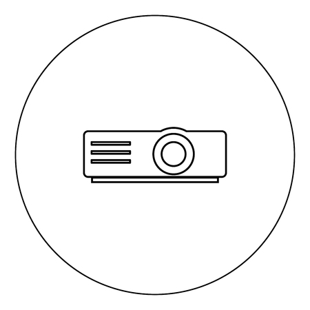 Projector icon black color in circle outline vector illustration
