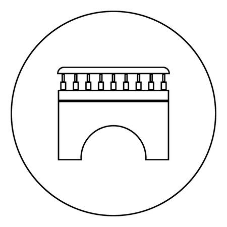 Bridge icon black color in circle outline vector illustration