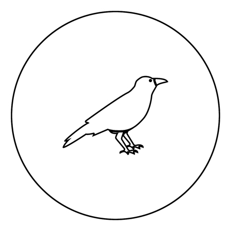 Crow black icon in circle outline vector illustration image