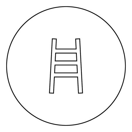 Ladder black icon in circle outline vector illustration image
