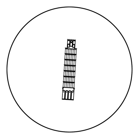 Pisa tower black icon in circle outline vector illustration image