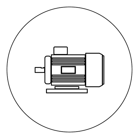 Electric motor icon black color in circle vector illustration isolated outline  イラスト・ベクター素材
