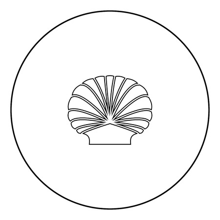 Shell black icon in circle outline vector illustration image