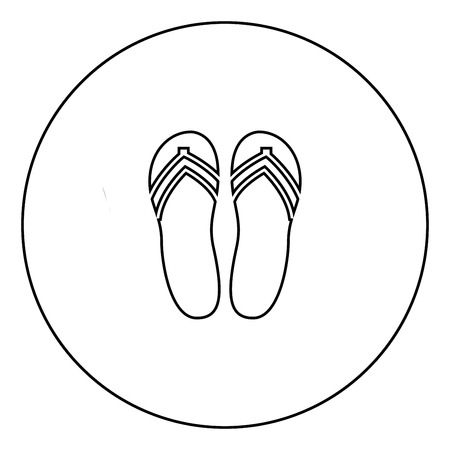 Beach slippers black icon in circle outline vector illustration image