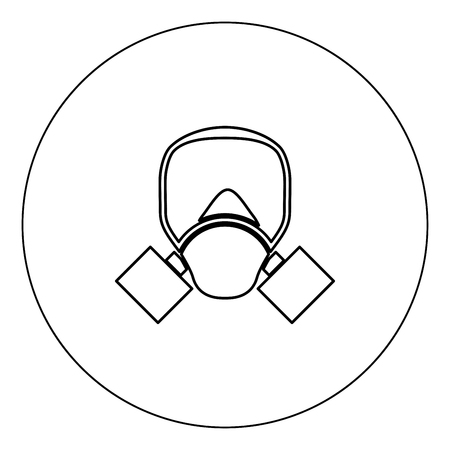 Gas mask icon black color in circle vector illustration isolated outline