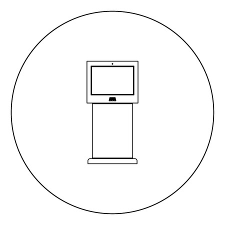 Terminal stand with touch screen black icon in circle vector illustration isolated flat style .