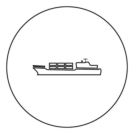 Merchant ship icon black color in circle outline vector illustration Illustration