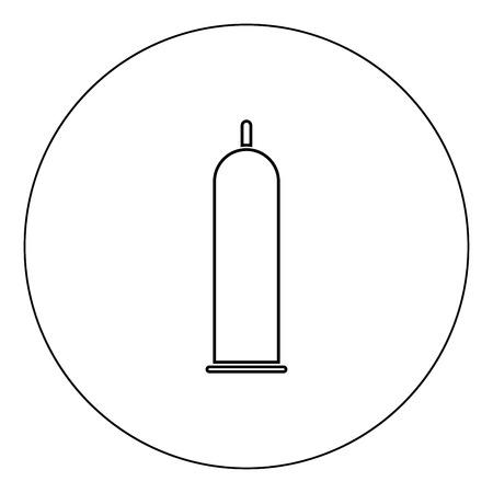 Latex condom icon black color in circle outline vector illustration