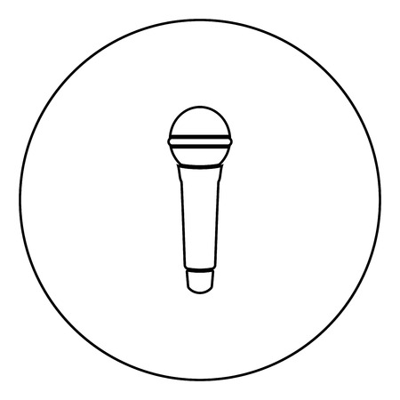 Microphone icon black color in circle outline vector illustration