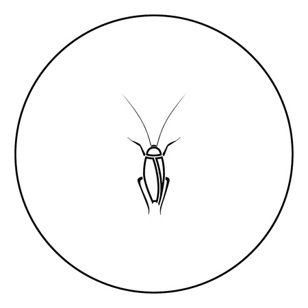 Cockroach icon black color in circle outline vector illustration Çizim