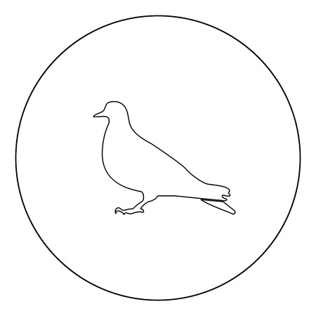 Dove icon black color in circle outline vector illustration
