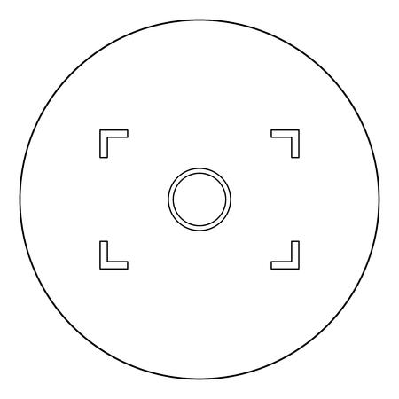 Camera focus icon black color in circle outline vector illustration