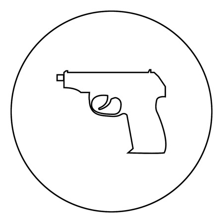 Hand gun icon black color in circle outline vector illustration Иллюстрация