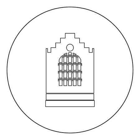 Church building black icon in circle vector illustration isolated flat style .