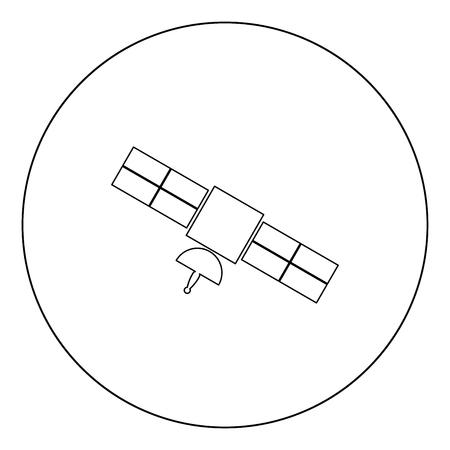 Satellite icon black color in circle outline vector illustration