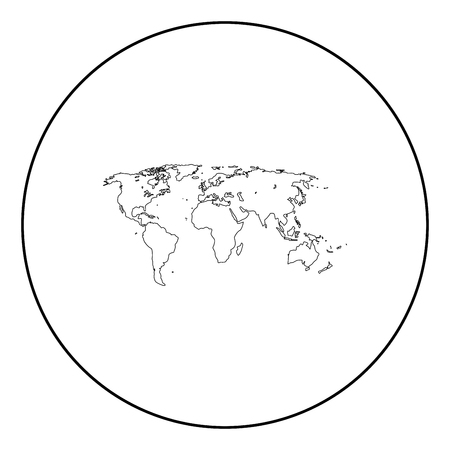 World map black icon in circle outline vector illustration image