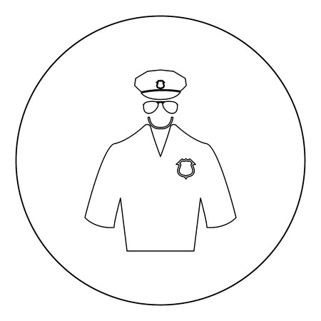 Police black icon in circle vector illustration isolated flat style .