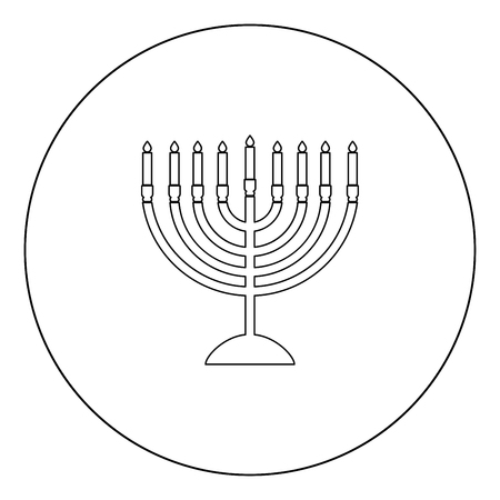 Menorah for Hanukkah icon black color in circle outline vector illustration