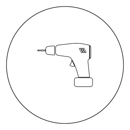 Screwdriver icon black color in circle outline vector illustration Illustration